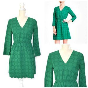 J. CREW Green Eyelet Lace V-neck Dress 3/4 Sleeve